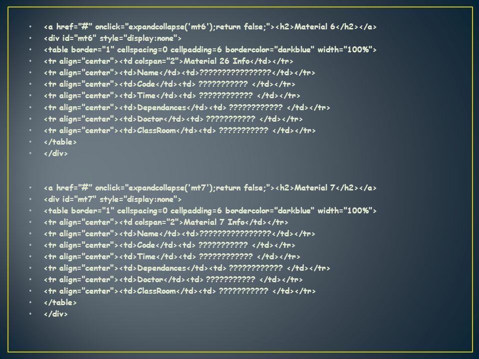 Material 6 Material 26 Info Name . Code .