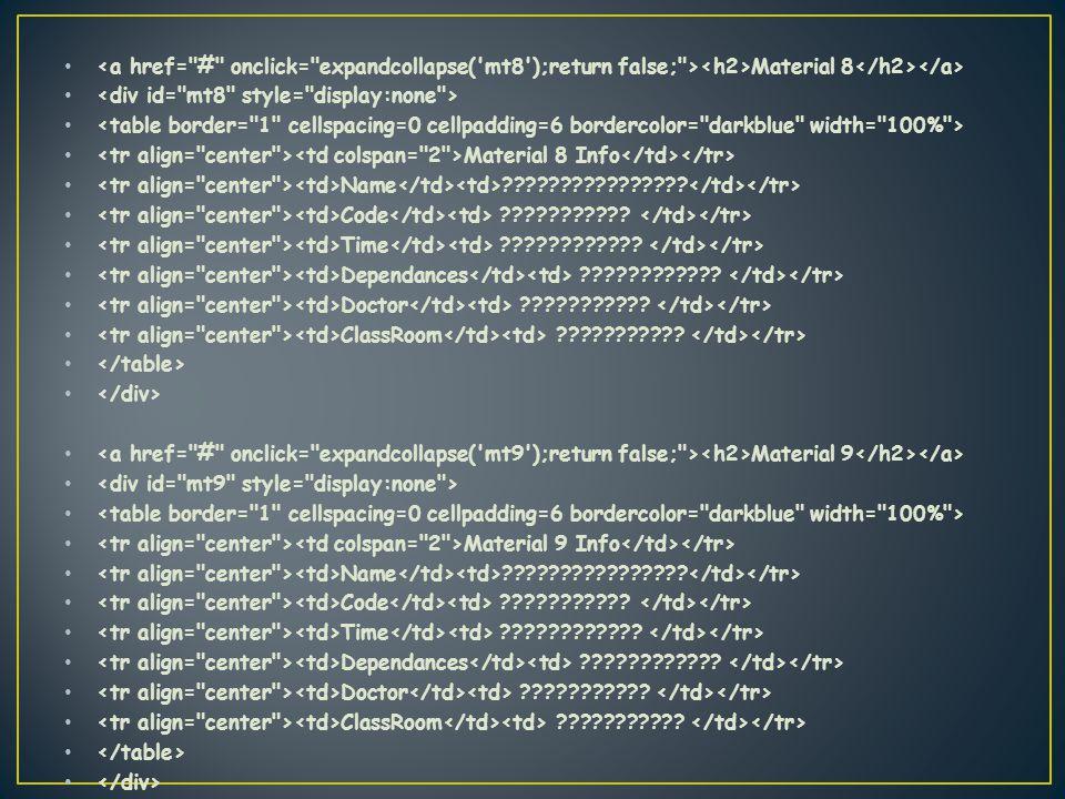 Material 8 Material 8 Info Name . Code .
