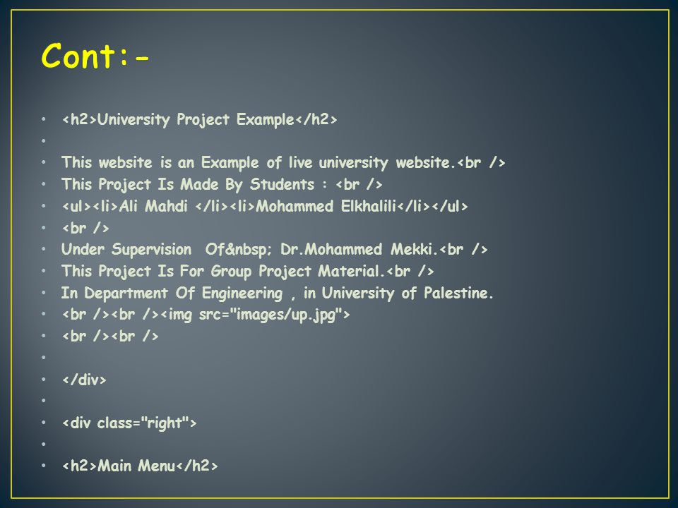 University Project Example This website is an Example of live university website.