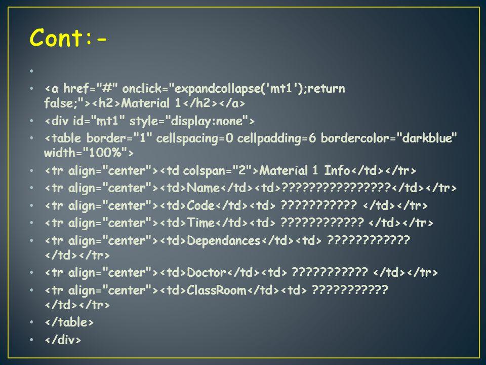 Material 1 Material 1 Info Name . Code .