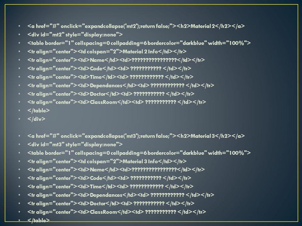 Material 2 Material 2 Info Name . Code .