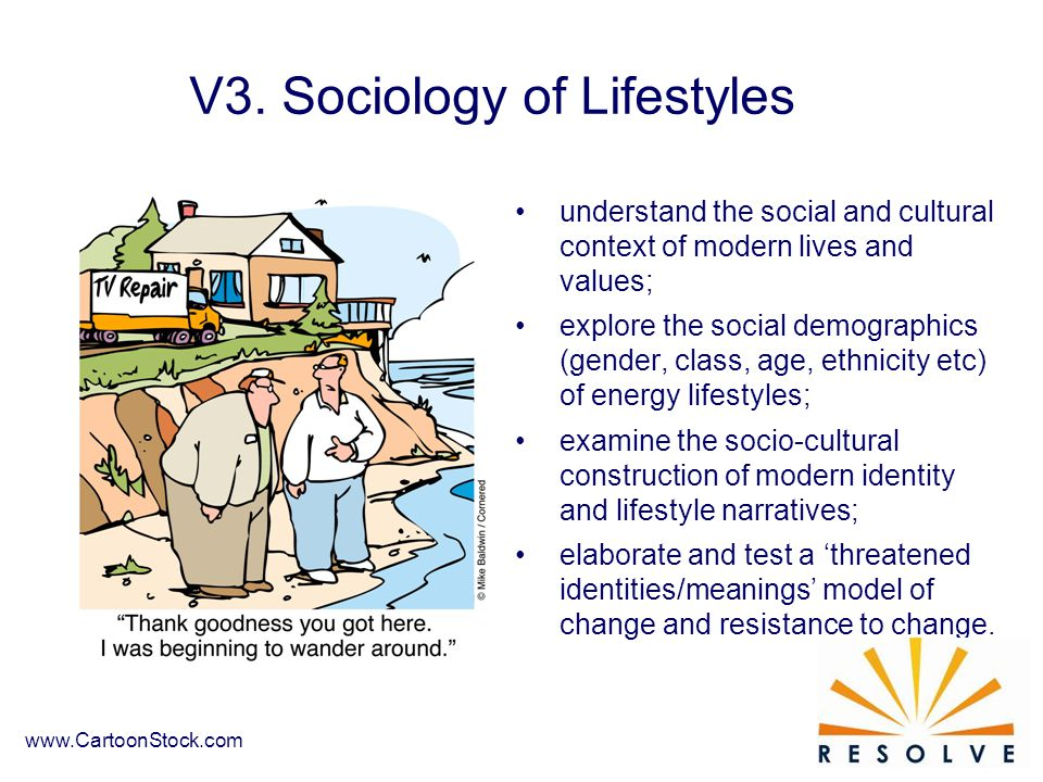 understand the social and cultural context of modern lives and values; explore the social demographics (gender, class, age, ethnicity etc) of energy lifestyles; examine the socio-cultural construction of modern identity and lifestyle narratives; elaborate and test a 'threatened identities/meanings' model of change and resistance to change.