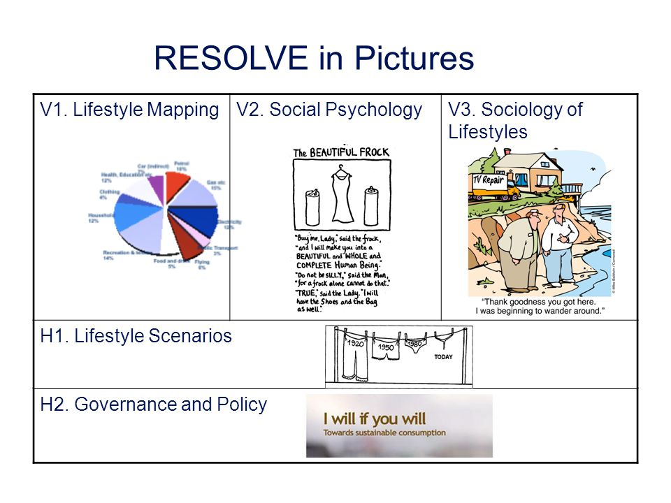 RESOLVE in Pictures V1. Lifestyle MappingV2. Social PsychologyV3.