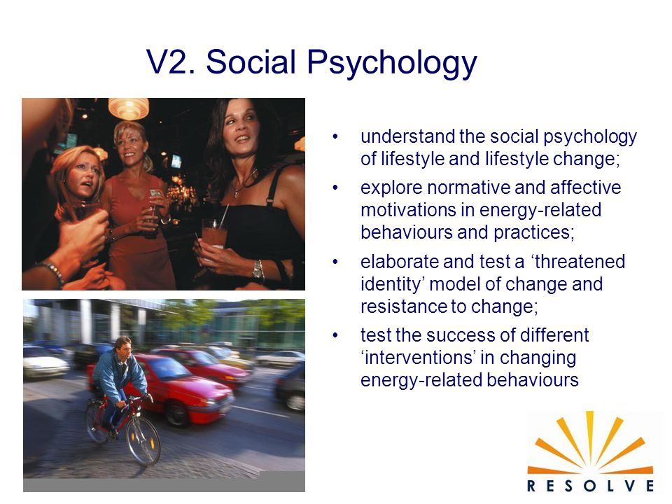 understand the social psychology of lifestyle and lifestyle change; explore normative and affective motivations in energy-related behaviours and practices; elaborate and test a 'threatened identity' model of change and resistance to change; test the success of different 'interventions' in changing energy-related behaviours V2.