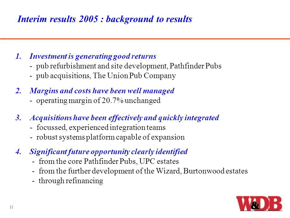 Interim results 2005 : background to results 1.