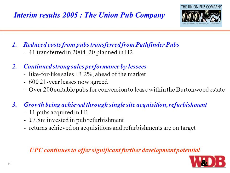 Interim results 2005 : The Union Pub Company 1.