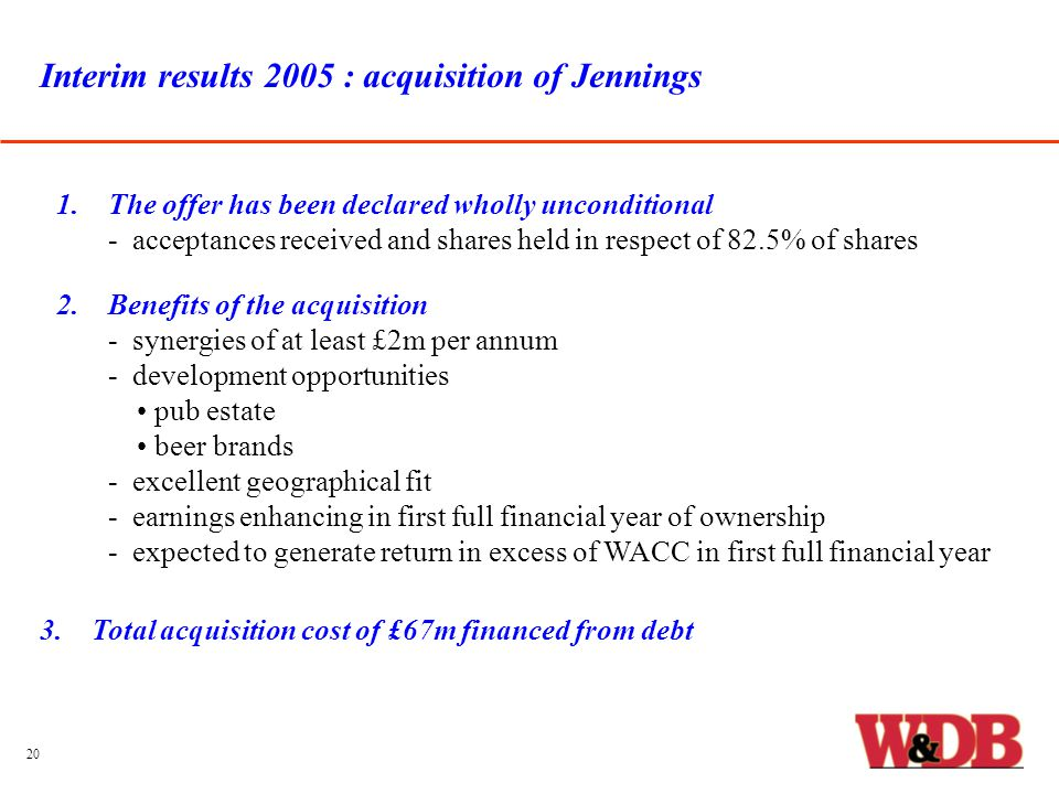 Interim results 2005 : acquisition of Jennings 1.