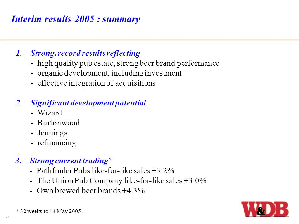 Interim results 2005 : summary 1.