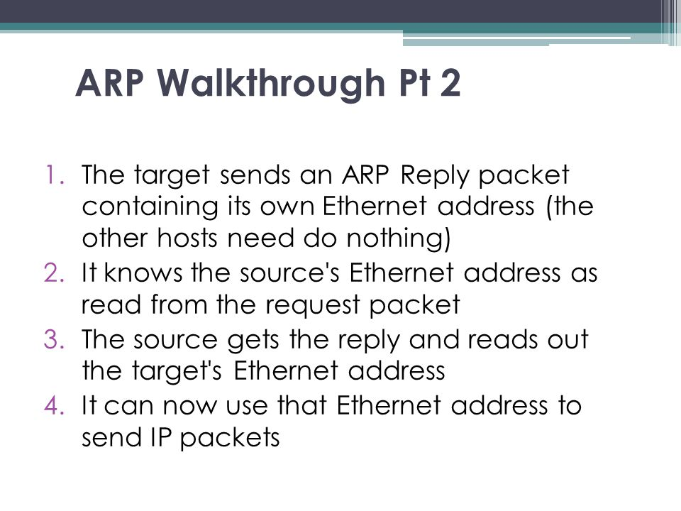 ARP Walkthrough Pt 2 1.The target sends an ARP Reply packet containing its own Ethernet address (the other hosts need do nothing) ‏ 2.It knows the sou