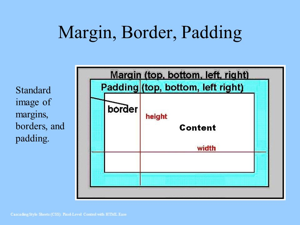 Margin, Border, Padding Standard image of margins, borders, and padding. Cascading Style Sheets (CSS): Pixel-Level Control with HTML Ease