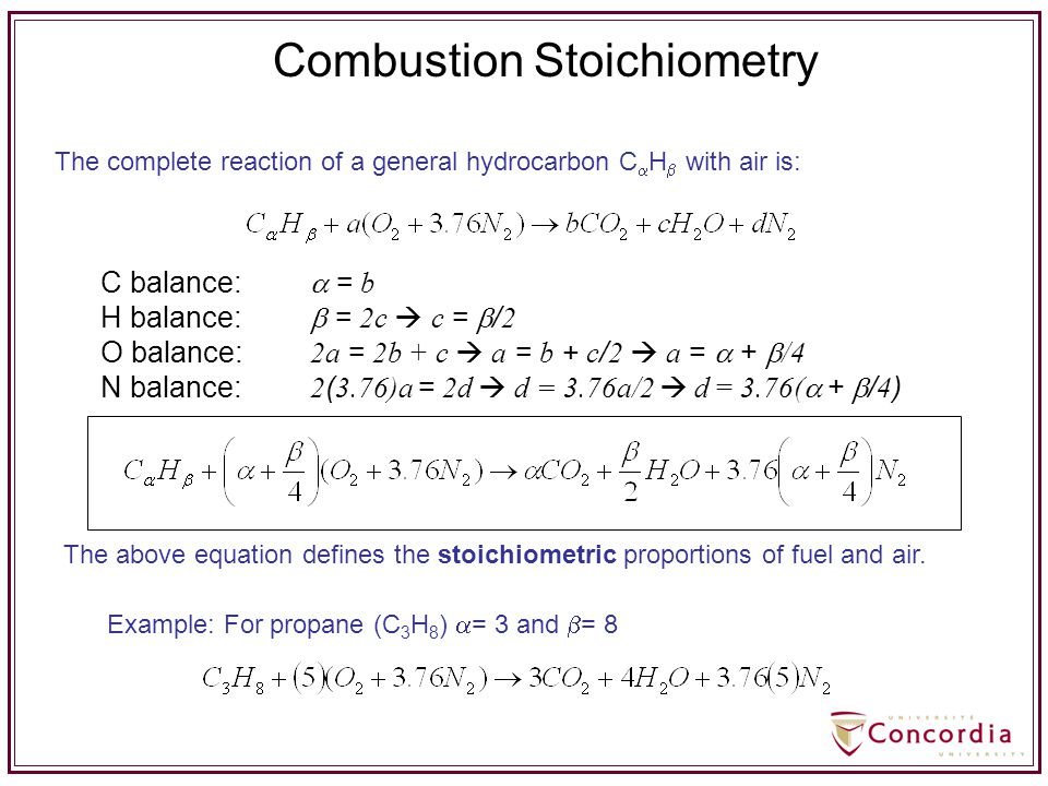 Combustion Stoichiometry The complete reaction of a general hydrocarbon C  H  with air is: The above equation defines the stoichiometric proportions
