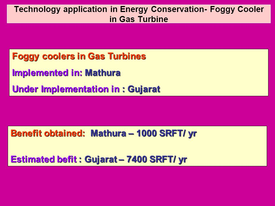 Technology application in Energy Conservation- Foggy Cooler in Gas Turbine Foggy coolers in Gas Turbines Implemented in: Mathura Under Implementation in : Gujarat Benefit obtained: Mathura – 1000 SRFT/ yr Estimated befit : Gujarat – 7400 SRFT/ yr