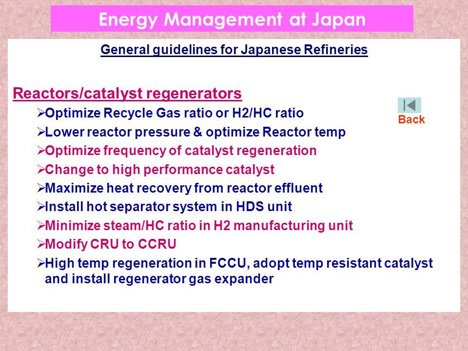 General guidelines for Japanese Refineries Reactors/catalyst regenerators  Optimize Recycle Gas ratio or H2/HC ratio  Lower reactor pressure & optim