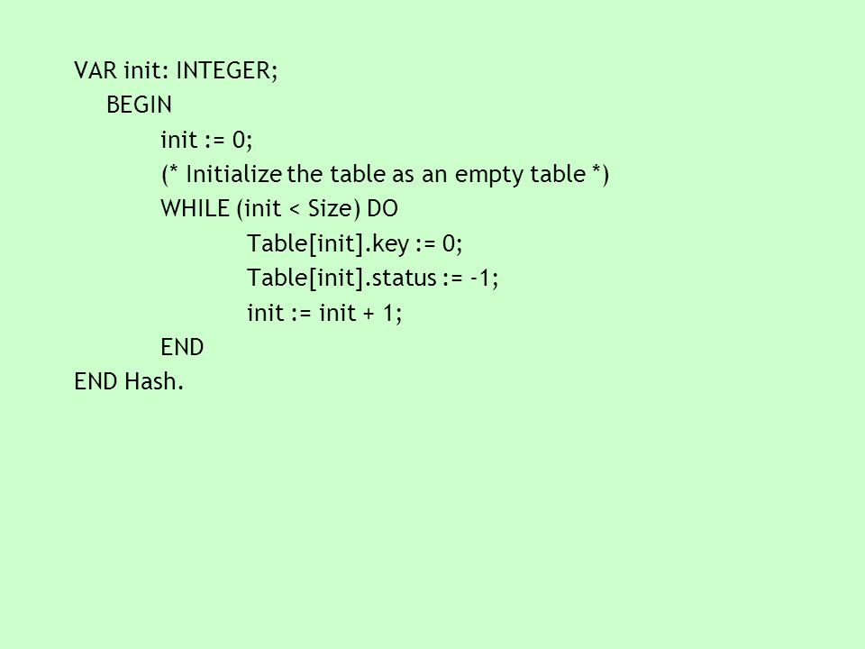 VAR init: INTEGER; BEGIN init := 0; (* Initialize the table as an empty table *) WHILE (init < Size) DO Table[init].key := 0; Table[init].status := -1