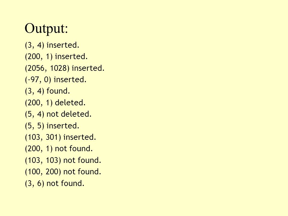 Output: (3, 4) inserted. (200, 1) inserted. (2056, 1028) inserted. (-97, 0) inserted. (3, 4) found. (200, 1) deleted. (5, 4) not deleted. (5, 5) inser
