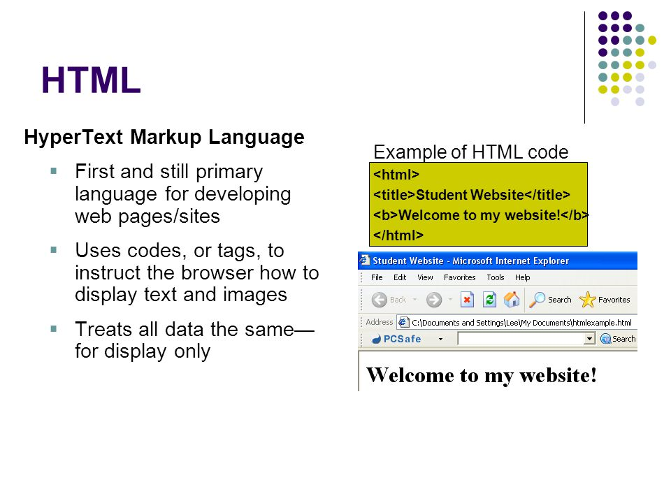XML eXtensible Markup Language  Describes data types to facilitate data processing  Designed to carry data, not to display it  Uses author-defined tags to identify each data entry so that the data can be easily imported into other applications  Metadata—data about data Example of XML code Atlanta Georgia 75
