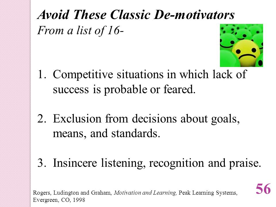 Avoid These Classic De-motivators From a list of 16- 1.Competitive situations in which lack of success is probable or feared.