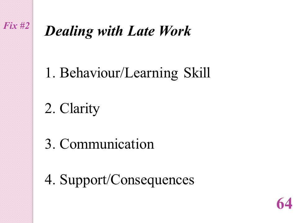 Dealing with Late Work 1.Behaviour/Learning Skill 2.