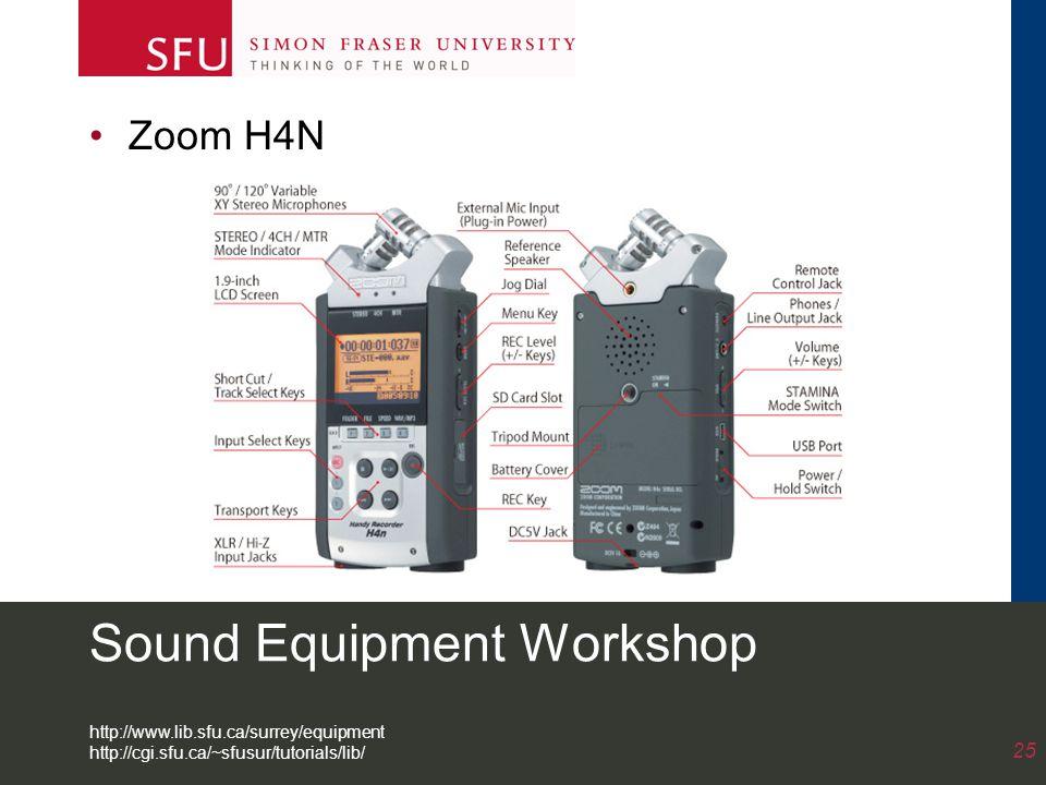 Sound Equipment Workshop Zoom H4N 25 http://www.lib.sfu.ca/surrey/equipment http://cgi.sfu.ca/~sfusur/tutorials/lib/