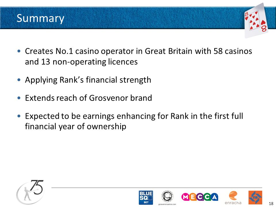 Summary Creates No.1 casino operator in Great Britain with 58 casinos and 13 non-operating licences Applying Rank's financial strength Extends reach of Grosvenor brand Expected to be earnings enhancing for Rank in the first full financial year of ownership 18
