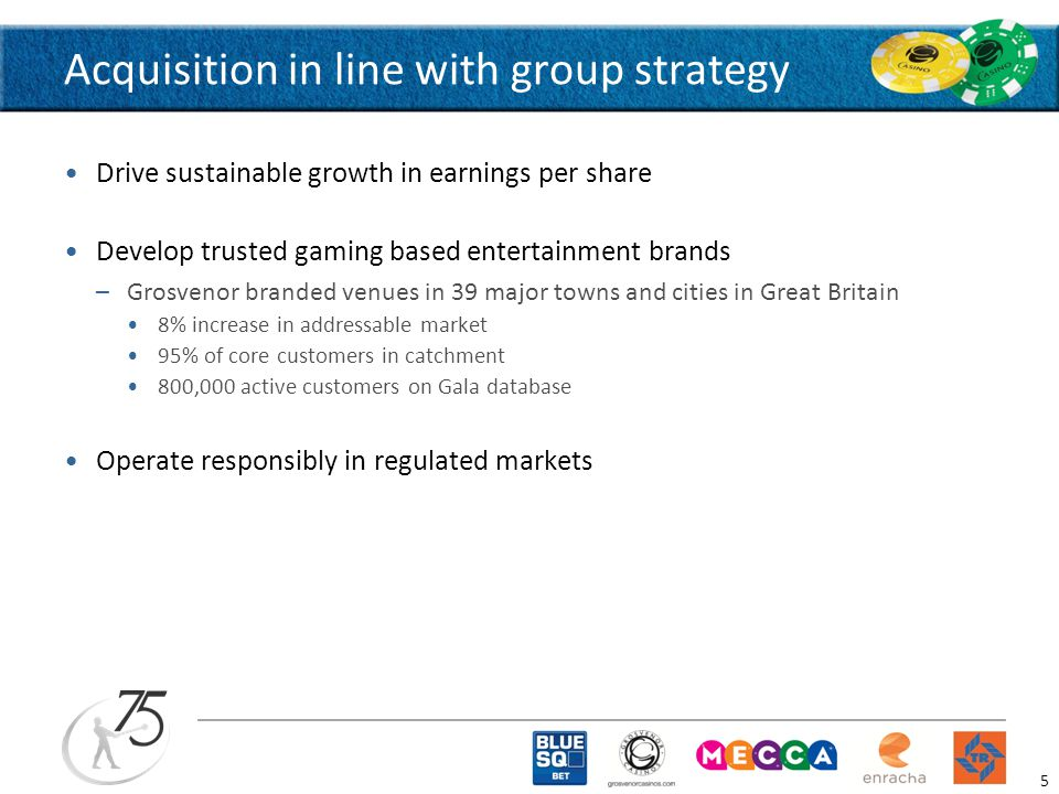 Acquisition in line with group strategy Drive sustainable growth in earnings per share Develop trusted gaming based entertainment brands –Grosvenor branded venues in 39 major towns and cities in Great Britain 8% increase in addressable market 95% of core customers in catchment 800,000 active customers on Gala database Operate responsibly in regulated markets 5