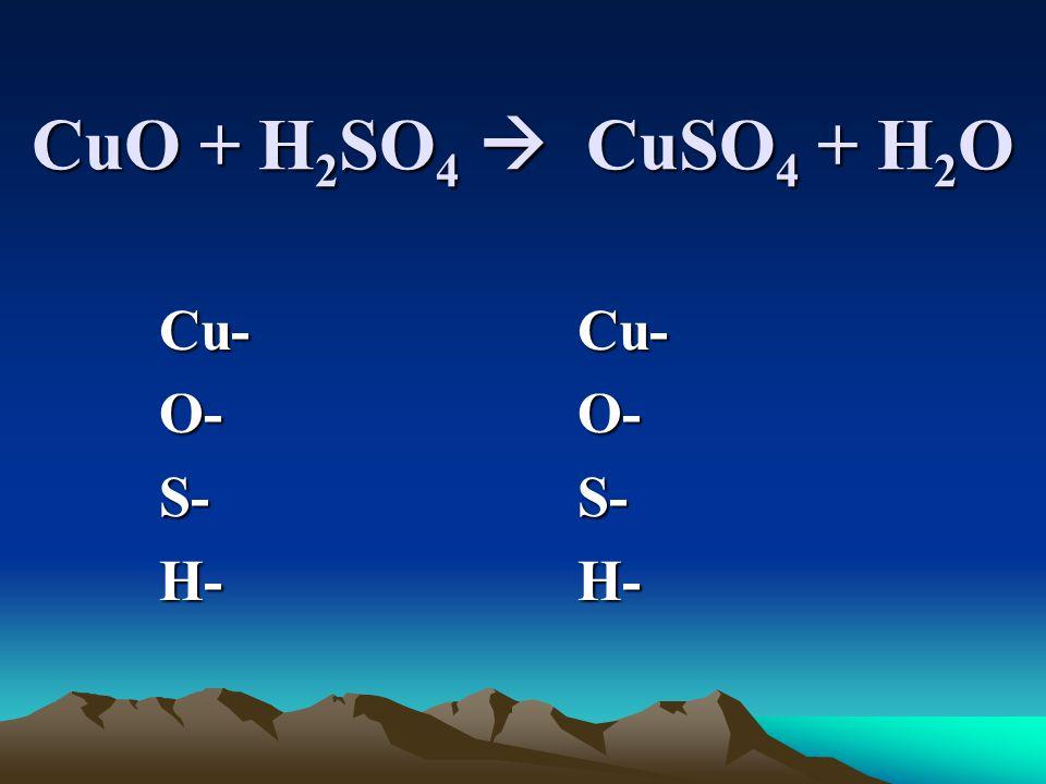 CuO + H 2 SO 4  CuSO 4 + H 2 O Cu-Cu- O-O- S-S- H-H-
