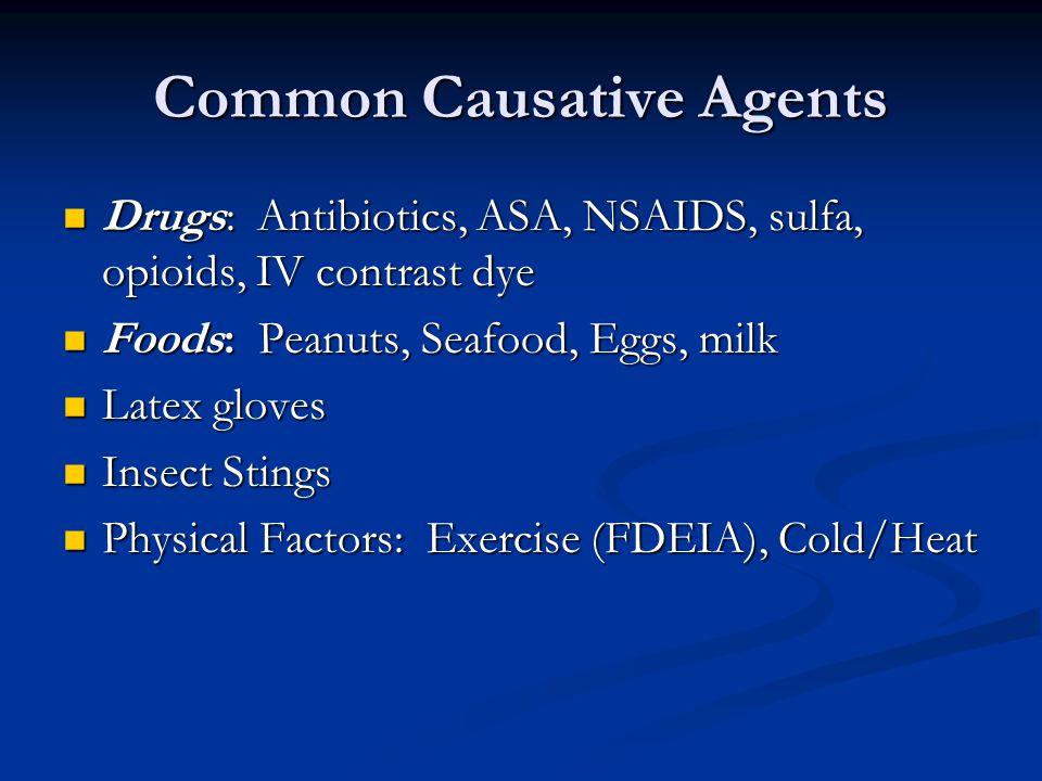 Common Causative Agents Drugs: Antibiotics, ASA, NSAIDS, sulfa, opioids, IV contrast dye Drugs: Antibiotics, ASA, NSAIDS, sulfa, opioids, IV contrast