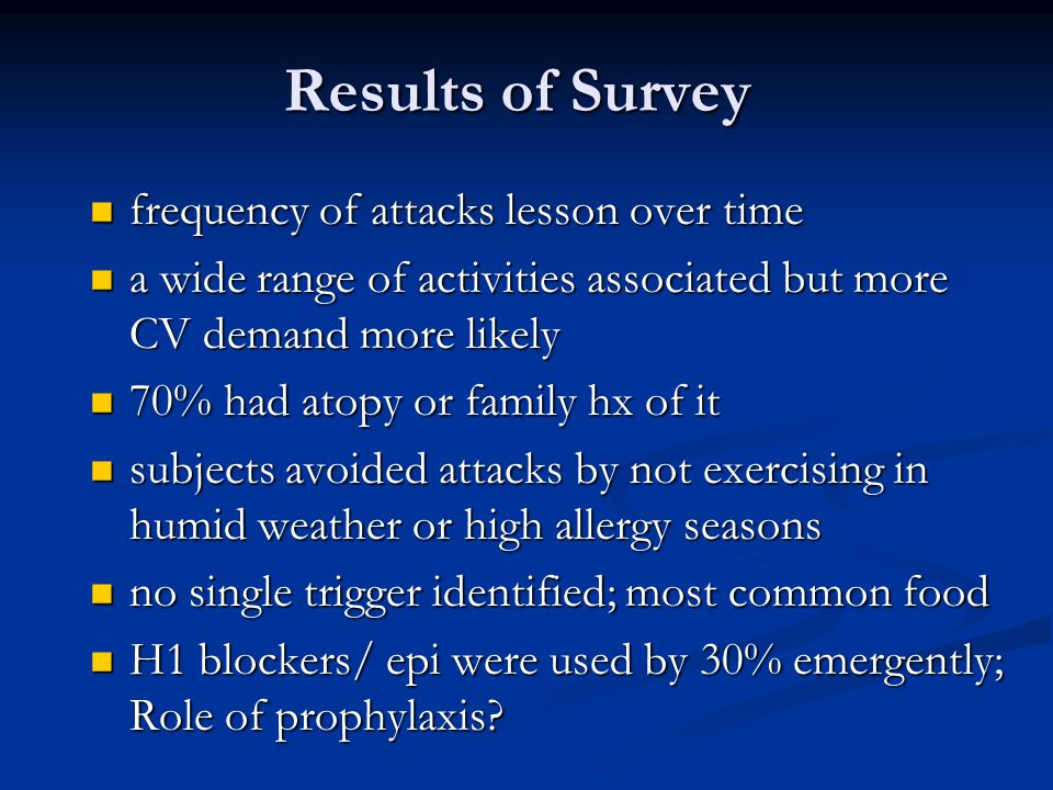 Results of Survey frequency of attacks lesson over time frequency of attacks lesson over time a wide range of activities associated but more CV demand