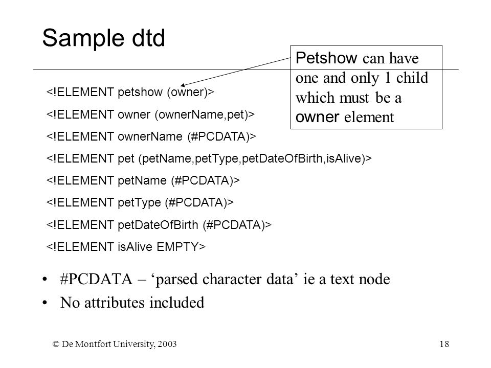 © De Montfort University, 200318 Sample dtd #PCDATA – 'parsed character data' ie a text node No attributes included Petshow can have one and only 1 child which must be a owner element