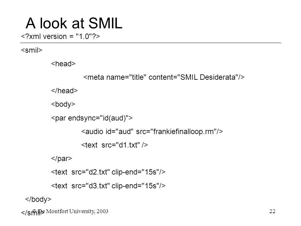 © De Montfort University, 200322 A look at SMIL