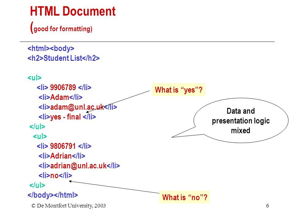 © De Montfort University, 20036 Student List 9906789 Adam adam@unl.ac.uk yes - final 9806791 Adrian adrian@unl.ac.uk no HTML Document ( good for formatting) What is yes .