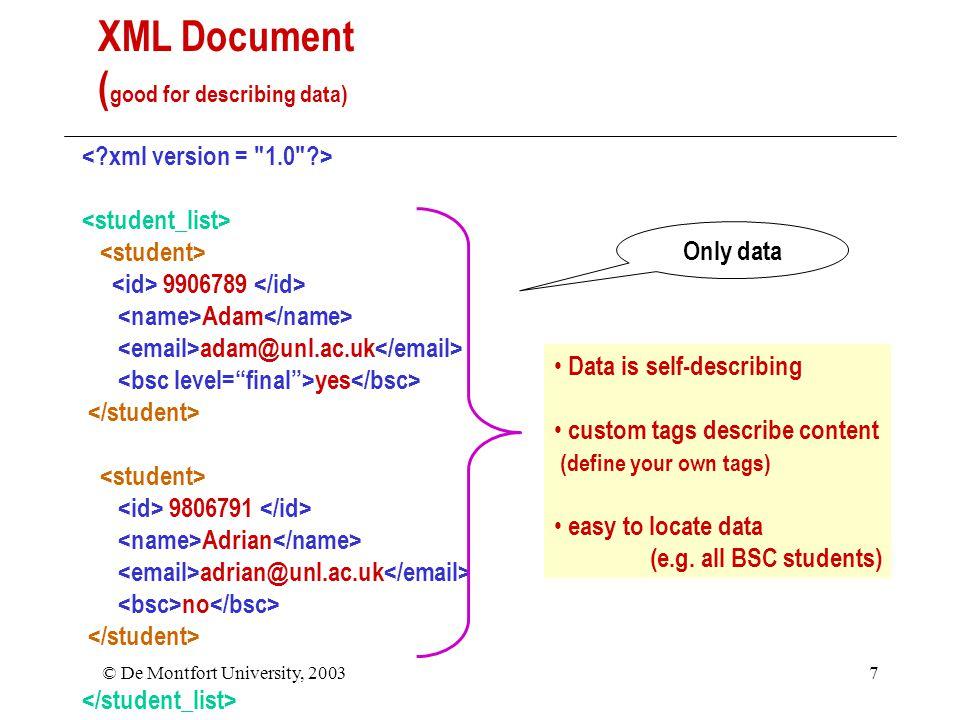 © De Montfort University, 20037 9906789 Adam adam@unl.ac.uk yes 9806791 Adrian adrian@unl.ac.uk no XML Document ( good for describing data) Data is self-describing custom tags describe content (define your own tags) easy to locate data (e.g.