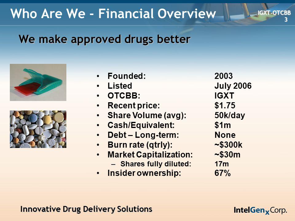 Innovative Drug Delivery Solutions Innovative Drug Delivery Solutions IGXT-OTCBB IGXT-OTCBB 4 Management Team Horst G.