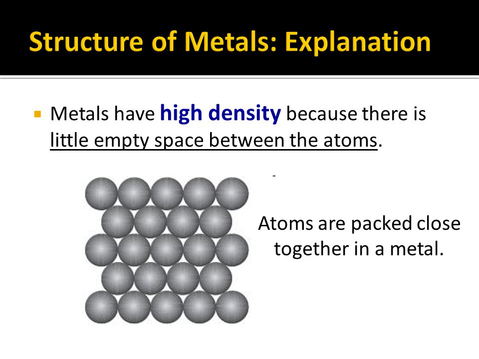 Push  In pure metals, atoms of the same size are packed regularly in layers.