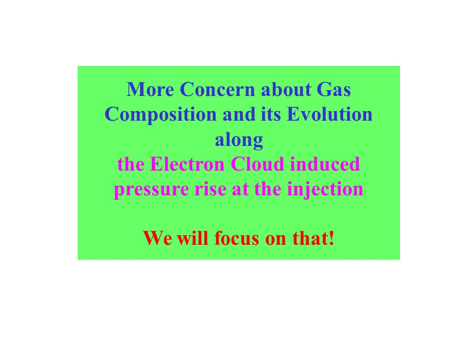 More Concern about Gas Composition and its Evolution along the Electron Cloud induced pressure rise at the injection We will focus on that!