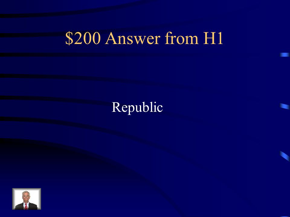 $200 Answer from H5 Plebeians