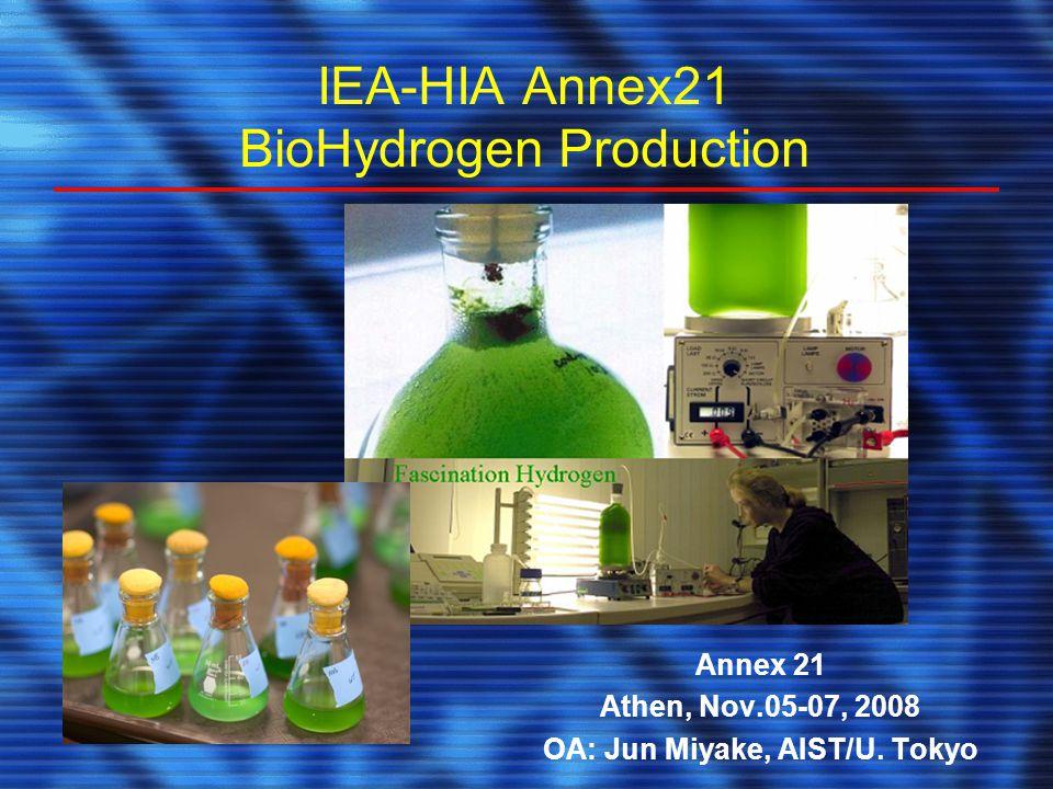 IEA-HIA Annex21 BioHydrogen Production Annex 21 Athen, Nov.05-07, 2008 OA: Jun Miyake, AIST/U.