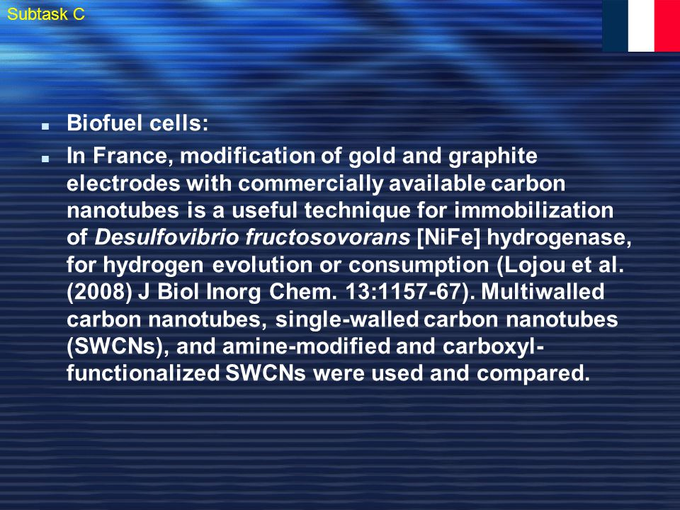 Biofuel cells: In France, modification of gold and graphite electrodes with commercially available carbon nanotubes is a useful technique for immobilization of Desulfovibrio fructosovorans [NiFe] hydrogenase, for hydrogen evolution or consumption (Lojou et al.