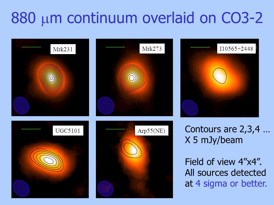 880  m continuum overlaid on CO3-2 Contours are 2,3,4 … X 5 mJy/beam Field of view 4 x4 .