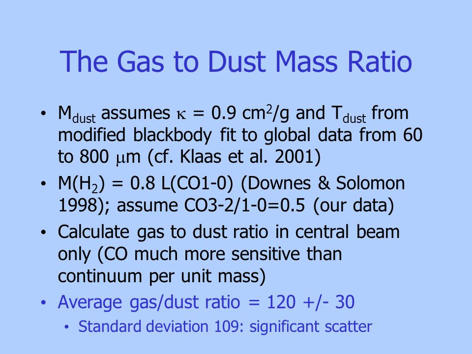 The Gas to Dust Mass Ratio M dust assumes  = 0.9 cm 2 /g and T dust from modified blackbody fit to global data from 60 to 800  m (cf.