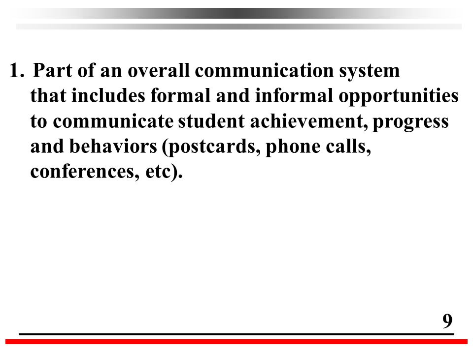 1.Part of an overall communication system that includes formal and informal opportunities to communicate student achievement, progress and behaviors (postcards, phone calls, conferences, etc).