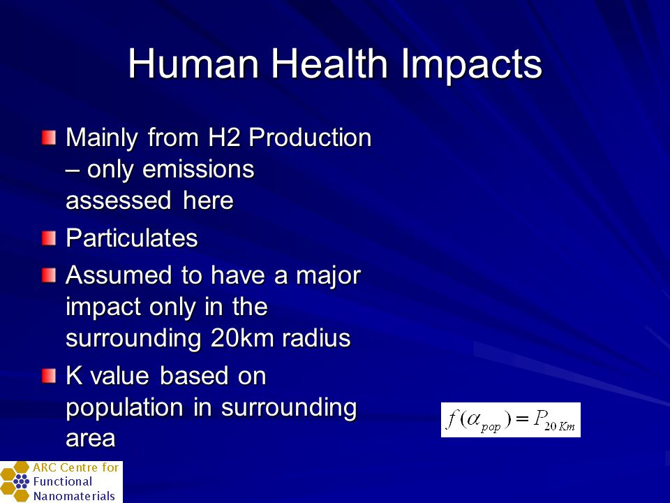 Human Health Impacts Mainly from H2 Production – only emissions assessed here Particulates Assumed to have a major impact only in the surrounding 20km