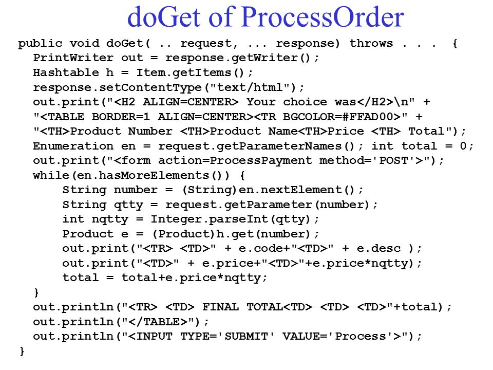 doGet of ProcessOrder public void doGet(.. request,... response) throws... { PrintWriter out = response.getWriter(); Hashtable h = Item.getItems(); re