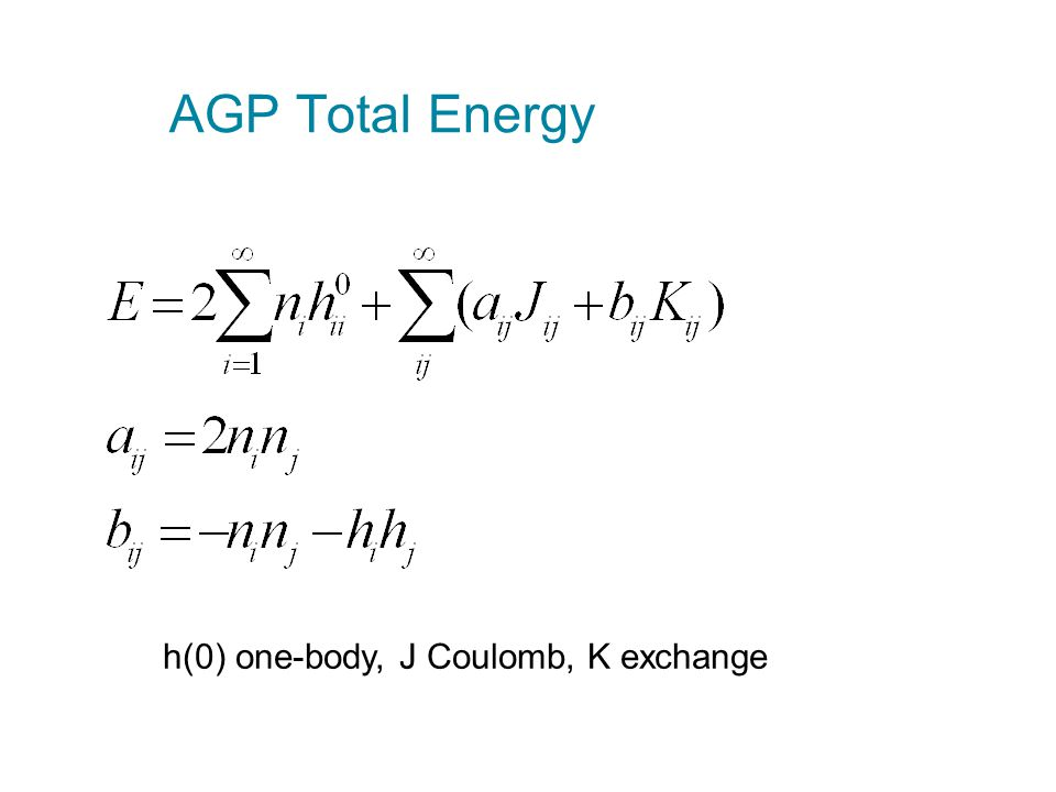 AGP Total Energy h(0) one-body, J Coulomb, K exchange