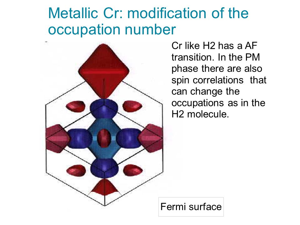 Metallic Cr: modification of the occupation number Fermi surface Cr like H2 has a AF transition. In the PM phase there are also spin correlations that