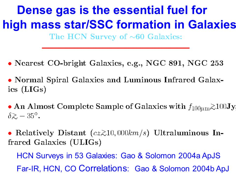 Dense gas is the essential fuel for high mass star/SSC formation in Galaxies HCN Surveys in 53 Galaxies: Gao & Solomon 2004a ApJS Far-IR, HCN, CO Corr