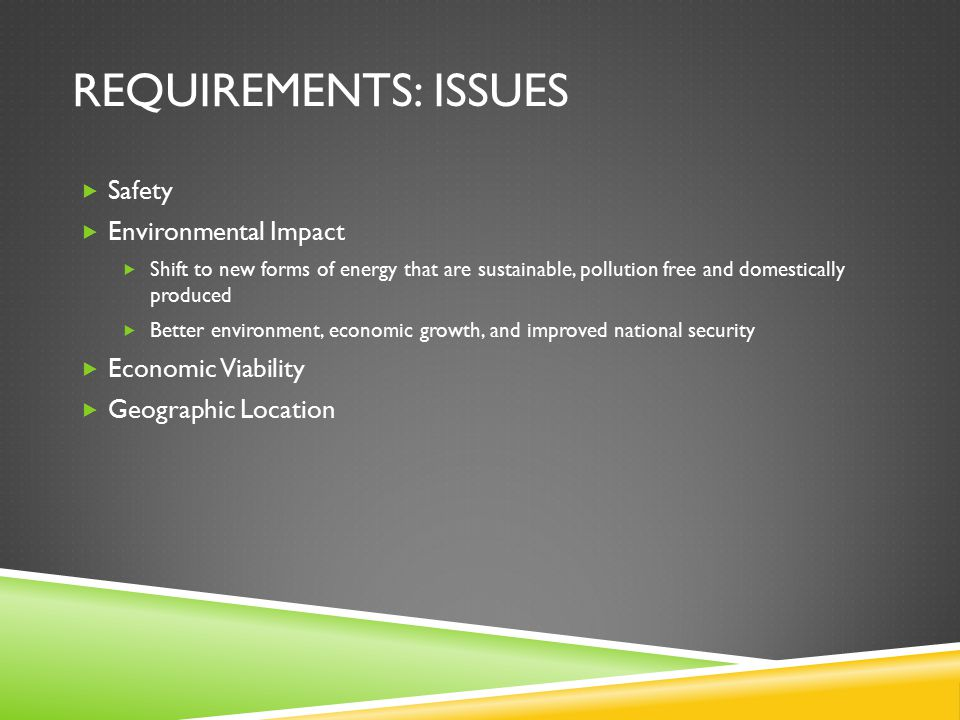 REQUIREMENTS: ISSUES  Safety  Environmental Impact  Shift to new forms of energy that are sustainable, pollution free and domestically produced  B