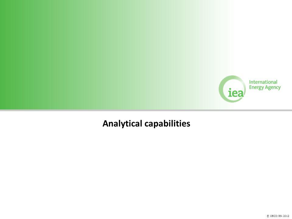 © OECD/IEA 2012 Analytical capabilities
