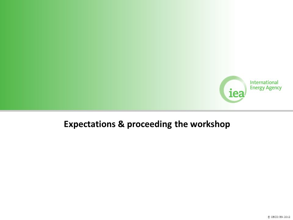 © OECD/IEA 2012 Expectations & proceeding the workshop