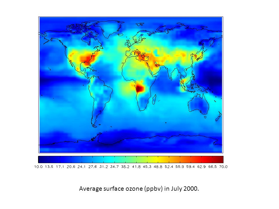 Average surface ozone (ppbv) in July 2000.